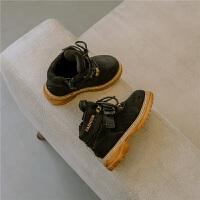 2018冬款新品儿童靴子男童真皮经典复古马丁靴女童加绒防滑棉靴