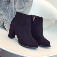 2018秋季冬季新款粗跟短靴女瘦黑色高跟鞋马丁靴女英伦风加绒靴子
