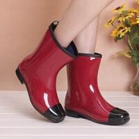 水鞋女高筒新款时尚中高筒雨鞋女春夏秋冬雨靴防滑水鞋可加绒袜保暖水靴 TBP