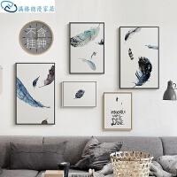 沙发背景墙装饰画 背景壁画客厅挂画沙发装饰画羽毛三联餐厅简约