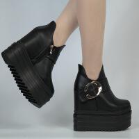 坡跟15公分松糕跟厚底罗马鞋女短靴16CM内增高恨天高高跟休闲女鞋
