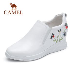 骆驼2018秋季新款内增高刺绣小白鞋女士百搭韩版休闲鞋子平底单鞋