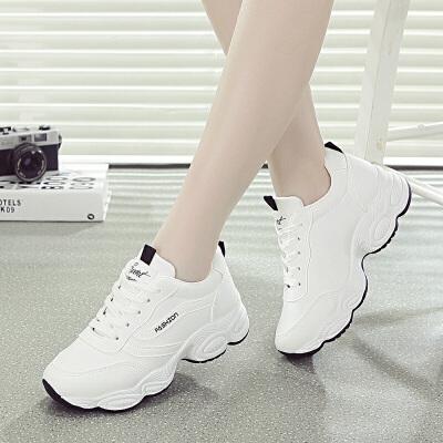休闲鞋 韩版系带运动鞋女跑步鞋2020春秋新款学生休闲鞋老爹鞋女鞋子 韩版系带运动鞋女跑步鞋