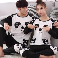 檀韵春秋季天情侣睡衣长袖女士可爱卡通熊猫男家居服冬套装