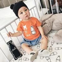 婴儿T恤夏季新生儿纯棉短袖字母牛奶瓶薄款上衣外穿宝宝衣服