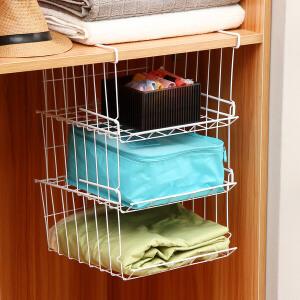 【满减】ORZ 3只装下挂篮书籍图书收纳篮套装 衣柜收纳架卫浴衣服网篮可挂书架