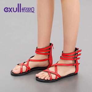 依思q夏新款凉鞋女平底平跟罗马鞋细带潮舒适女鞋子