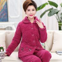冬季中老年人女士睡衣珊瑚绒加厚夹棉袄中年妈妈冬天加绒大码女装