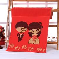 结婚婚庆用品 棉大红喜庆情侣毛巾 结婚装饰毛巾 喜字婚庆毛巾 74x34.5cm