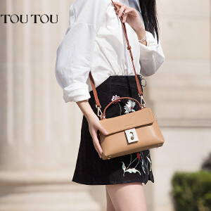 toutou2017夏季新款女包优雅百搭手提包单肩斜挎包简约时尚小方包