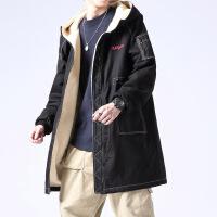 №【2019新款】冬天胖子穿的羊羔毛绒中长款男加肥加大码潮胖子连帽加厚青年棉衣外套