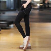 女士健身房跑步运动裤子瑜珈显瘦插口袋长裤女 韩版假两件运动裤女速干瑜伽服
