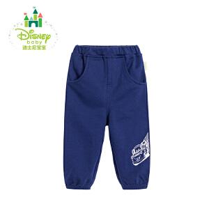 迪士尼Disney童装男童休闲裤春秋装新款纯棉男宝宝可开裆裤子173K763