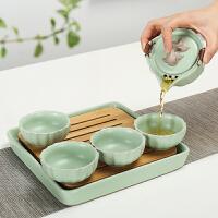 便捷简约小茶台茶海 家用汝窑旅行功夫茶具茶壶陶瓷茶盘托套装