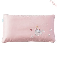 贡缎刺绣儿童枕套纯色全棉可爱卡通枕头套夏季单人纯棉枕芯套 可爱的公主(淡丁香豆沙) 枕套一只