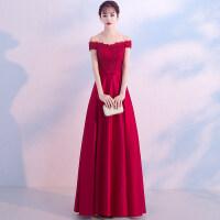 敬酒服新娘红色2018新款秋冬季长款显瘦一字肩回门结婚晚礼服裙女 酒