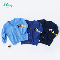 迪士尼Disney童装 男童毛衣长袖秋装新款外套纯棉前开扣针织保暖v领宝宝毛线衫183S1035