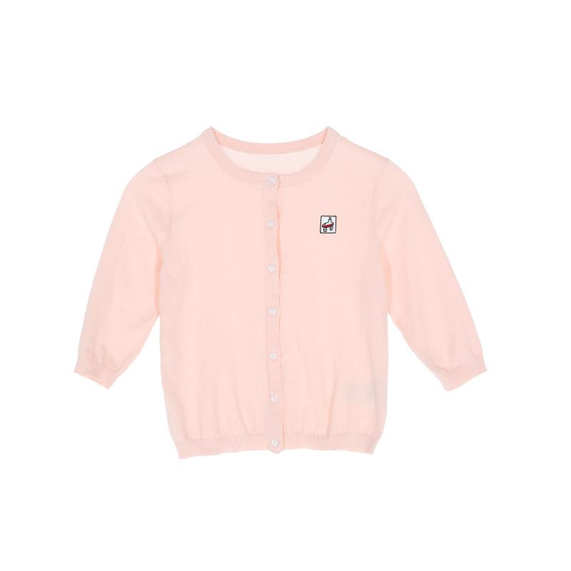littlemoco柔粉色刺绣卡通贴布短款针织外套KA172CAR305 moco 圆领纯色 刺绣贴布薄外套