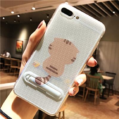 卡通苹果6s手机壳支架iphone7plus散热网壳6硅胶8X情侣XS/Max女Xr 6/6s 4.7寸 背影猫咪