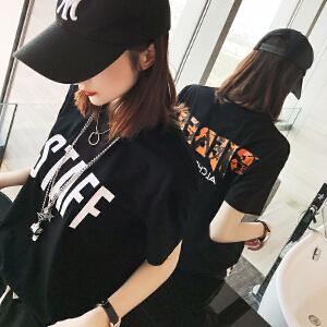 卡茗语t恤女圆领短袖2018夏装韩版潮宽松学生黑色显瘦百搭男女同款上衣