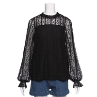 女春款新长袖蕾丝衫 镂空甜美打底喇叭袖学生上衣C