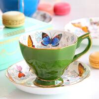 美式骨瓷咖啡杯套装欧式 英式下午茶具陶瓷蝴蝶红茶杯碟