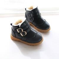 潮靴冬季韩版男女童皮鞋儿童加绒保暖棉鞋马丁靴小男孩宝宝鞋防滑