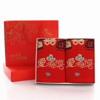 ???婚庆毛巾纯棉一对双喜字结婚回礼红毛巾洗脸礼盒装 34x75cm