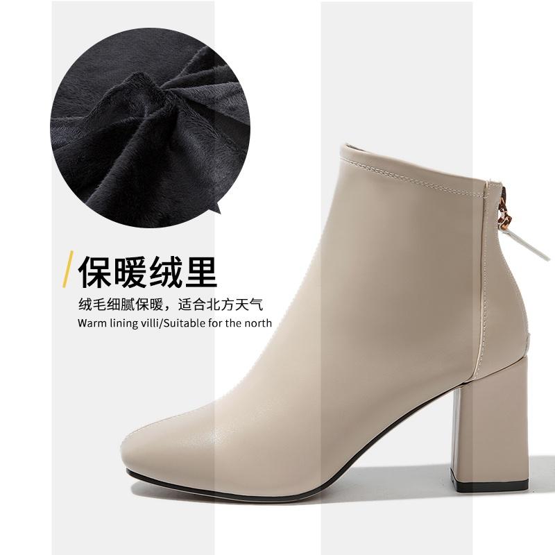 方头及踝靴女2018新款靴子女高跟短靴夏粗跟韩版百搭学生英伦时尚SN3903
