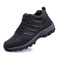 冬季中老年健步鞋加绒保暖棉鞋爸爸鞋户外登山鞋安全老人鞋真皮