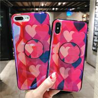 蓝光爱心苹果6splus手机壳支架iPhonex/7/8硅胶软壳女款6全包 iPhone X 水滴爱心+支架