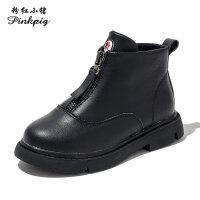 粉红小猪女童靴子2019秋季新款儿童马丁靴真皮宝宝短靴男童单靴潮