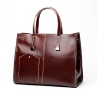 83欧美大包新款时尚大气简约女士单肩斜跨包真皮女包油蜡手提包