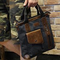 帆布公文包男商务男包手提包出差男士包包休闲大容量电脑包