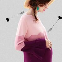 休闲外出毛衣孕妇裙孕妇春装拼色长袖针织连衣裙宽松