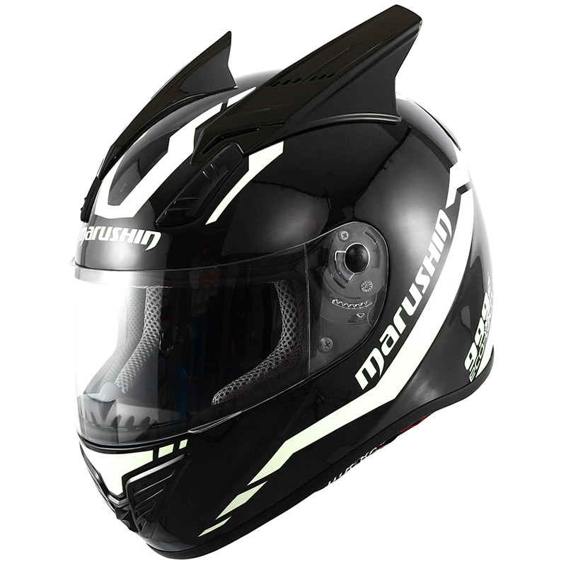 marushin摩托车个性酷犄角安全马鲁森头盔牛角兔耳朵999R
