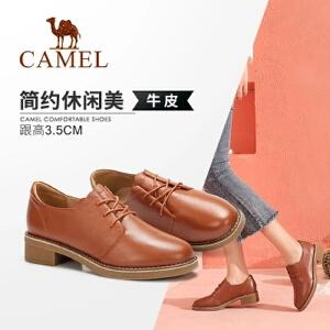 Camel/骆驼女鞋 2018秋季新款时尚简约学院风系带花边真皮单鞋女