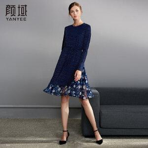 颜域品牌秋装女2018新款拼接A字裙长袖针织假两件套中长款连衣裙
