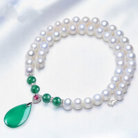 淡水珍珠项链送妈妈婆婆 强光饱满珍珠项链绿玉髓吊坠 生日*