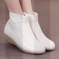�o士棉鞋冬季新款平底坡跟牛筋底白色舒�m真皮�o士短靴女鞋加�qSN3567 米白色