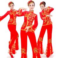 广场舞服装套装 女士新款秋冬中长袖上衣舞蹈服中老年运动跳舞演出服瑜伽服两件套 红色 S