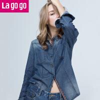 【3折价86.4】Lagogo/拉谷谷2017年冬季新款时尚纽扣长袖牛仔衬衫