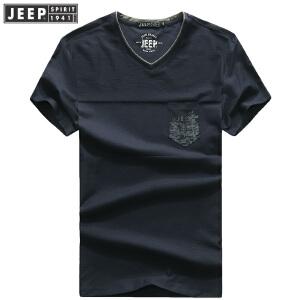2018夏装新款吉普JEEP纯棉V领短袖T恤衫307006弹力男士polo衫薄款