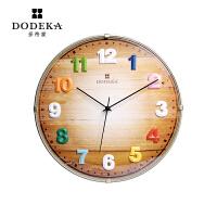 14英寸客厅挂钟创意时尚彩色木质石英钟表欧式简约钟 金色 14英寸(直径35.5厘米)