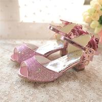 蝴蝶结女童复古高跟凉鞋奶奶鞋软底儿童学生公主鞋水晶鱼嘴