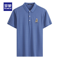 罗蒙男士短袖T恤衫2021夏季薄款时尚休闲纯色POLO衫中青年上衣男