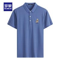 【2折预估到手价:61叠券更优惠】罗蒙男士短袖T恤衫2021夏季薄款时尚休闲纯色POLO衫中青年上衣男