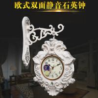 欧式挂钟客厅双面钟大号装饰钟表静音时钟创意家用挂表石英钟 白色 18英寸