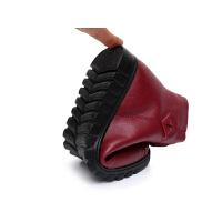 冬季软底妈妈鞋棉鞋中老年人女鞋加绒短靴保暖皮鞋平底大码防滑鞋
