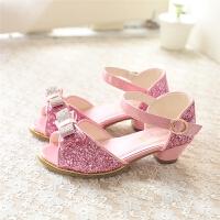 女童凉鞋可爱蝴蝶结公主鞋夏季鱼嘴鞋闪亮儿童高跟水晶鞋